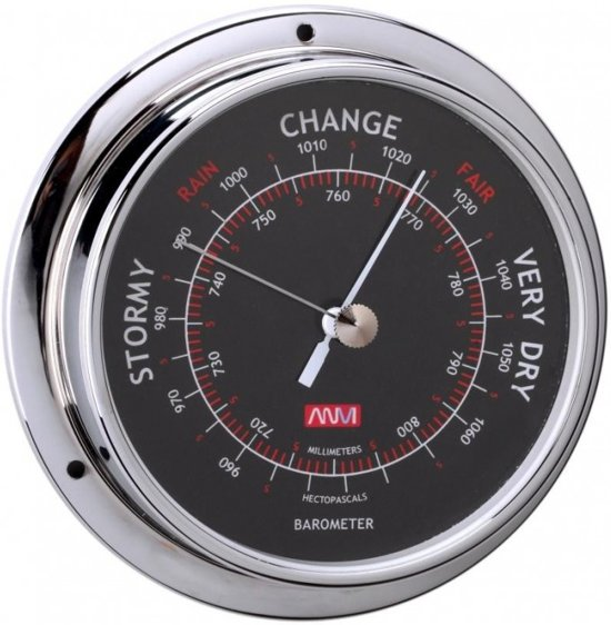 ANVI chroomkleurige Barometer Ø 120 mm