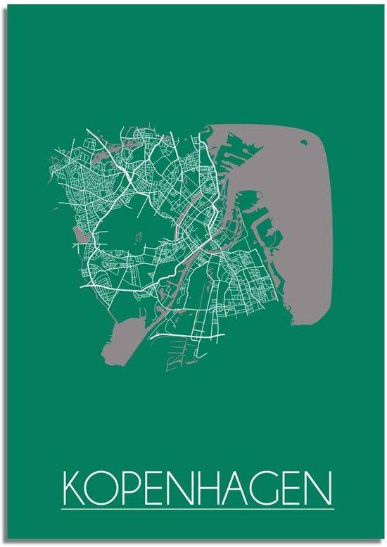 Plattegrond Kopenhagen Stadskaart poster DesignClaud - Groen - A2 poster