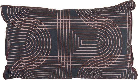 Present Time Retro Grid - Sierkussen - 30x50 cm - Katoen - Zwart