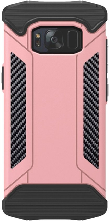 Let op type!! Samsung Galaxy S8 + / G9550 Robuust pantser beschermend TPU + metaal back cover Hoesje (roze goudkleurig)