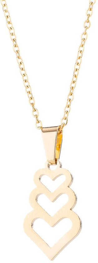 24/7 Jewelry Collection 3 Hartjes Ketting - Hart - Goudkleurig