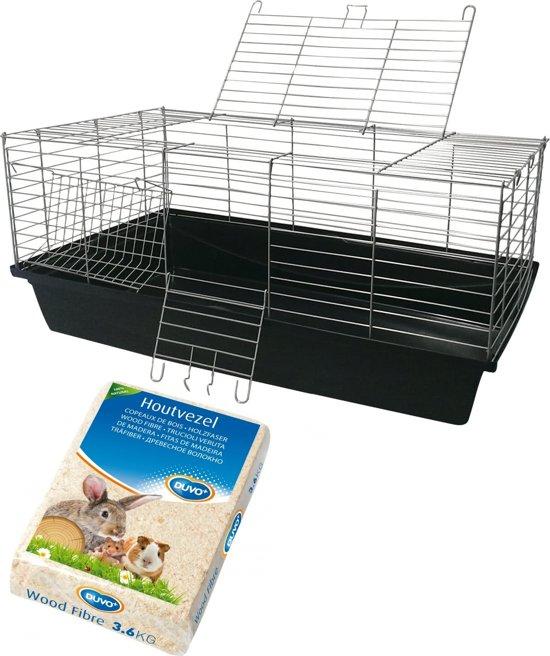 konijnen/caviakooi 100cm + 3.6kg houtvezel