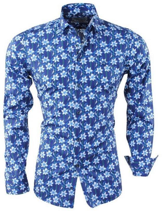 Paars Heren Overhemd.Bol Com Ferlucci Heren Overhemd Bloemen Slim Fit Calabria