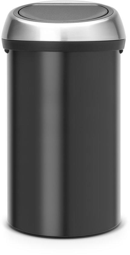 Brabantia Prullenbak 60 Liter.Brabantia Touch Bin Prullenbak 60 L Zwart Met Matt Steel Fingerprint Proof