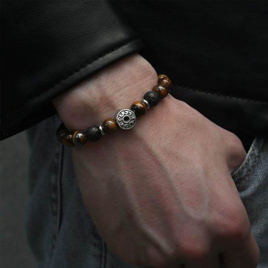 Victorious Bruin Tijgeroog Natuurstenen Kralenarmband – Heren Armband – 17cm