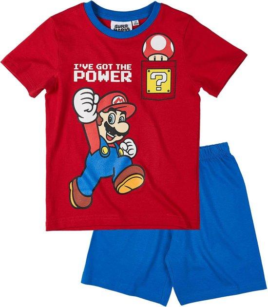 Super Mario Bros Pyjama met korte mouw - rood - Maat 140