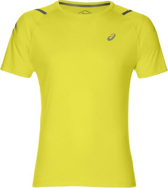 Asics Icon SS Top Sportshirt - Maat M  - Mannen - geel/donkergrijs