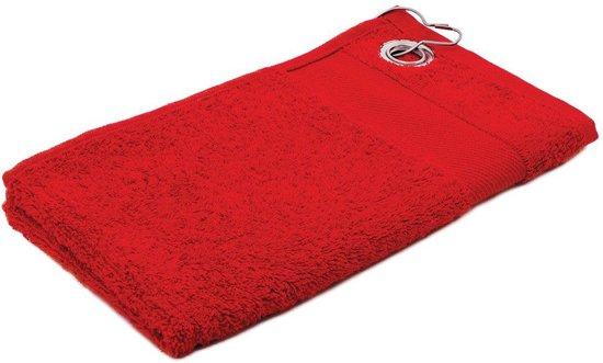 Arowell Golfhanddoek met clip 55 x 30 cm - 500 Gram - Rood - 3 stuks
