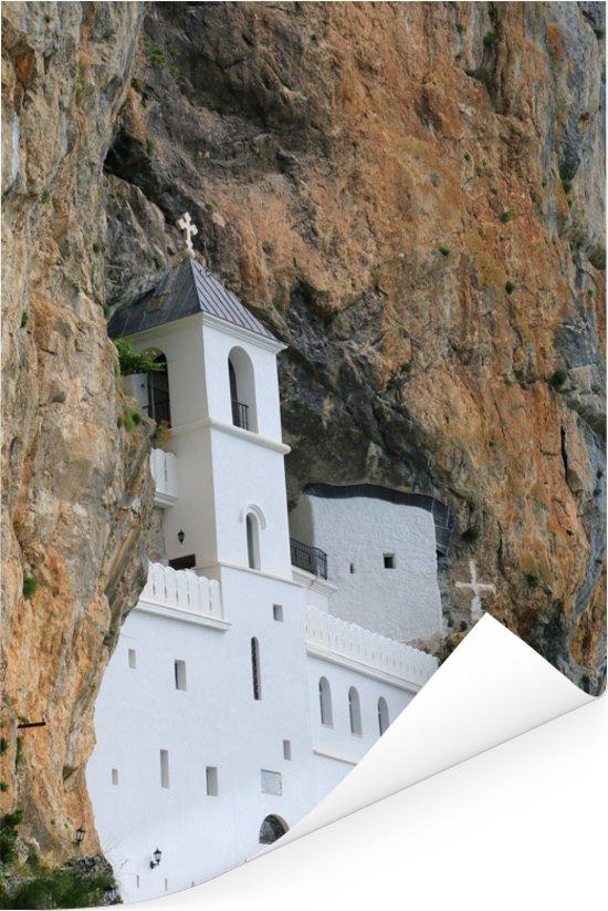 Het eeuwenoude Ostrogklooster in Montenegro Poster 120x180 cm - Foto print op Poster (wanddecoratie woonkamer / slaapkamer) XXL / Groot formaat!
