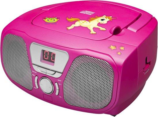 Bigben Draagbare Radio CD Speler met Stickers - Roze