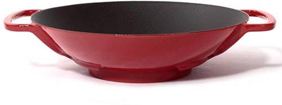 Gietijzeren wok rood, 35cm - Sürel