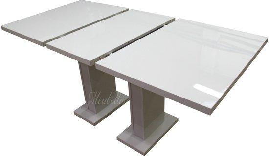 Eettafel Wit Uitschuifbaar.Meubella Eettafel Eetkamertafel Glamour Wit Uitschuifbaar 120 160 Cm