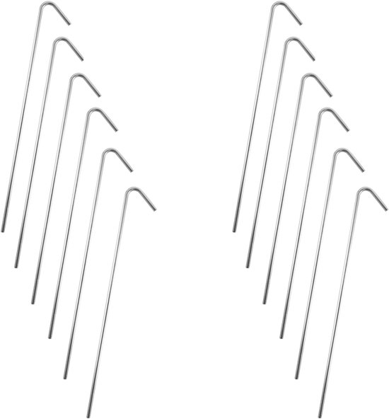 Stalen Tentharingen Set - 12 stuks - 23 cm | Staal | Opzetten Tent | Tentspijkers | Tentspijker | Haringen | Tentharing | Haring | Camping | Kamperen