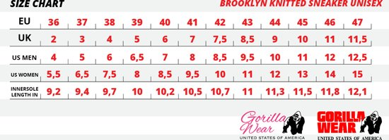 Brooklyn Knitted black 45 Gorilla Wear SneakersunisexRed 3jL54RqA