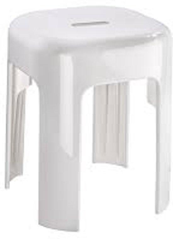 Douche kruk wit geheel water bestendig met anti slip - Douche onder de dakrand ...
