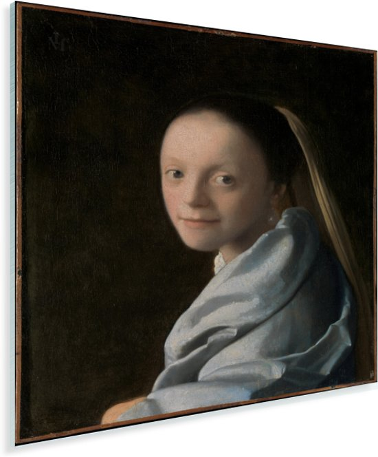 Meisjeskopje - Schilderij van Johannes Vermeer Plexiglas 30x40 cm - klein - Foto print op Glas (Plexiglas wanddecoratie)