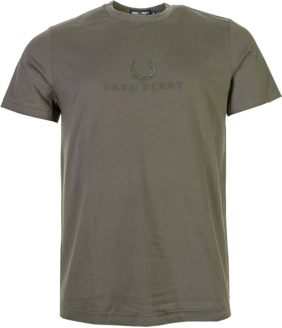 Embroidered Tonal Mannen Sportshirt Olijfgroen L Fred CasualMaat Perry Nn0O8vmw