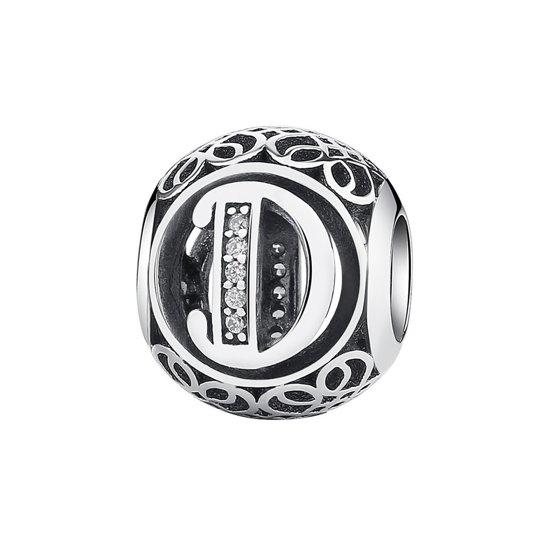 Zilveren bedel letter D met zirkonia steentjes