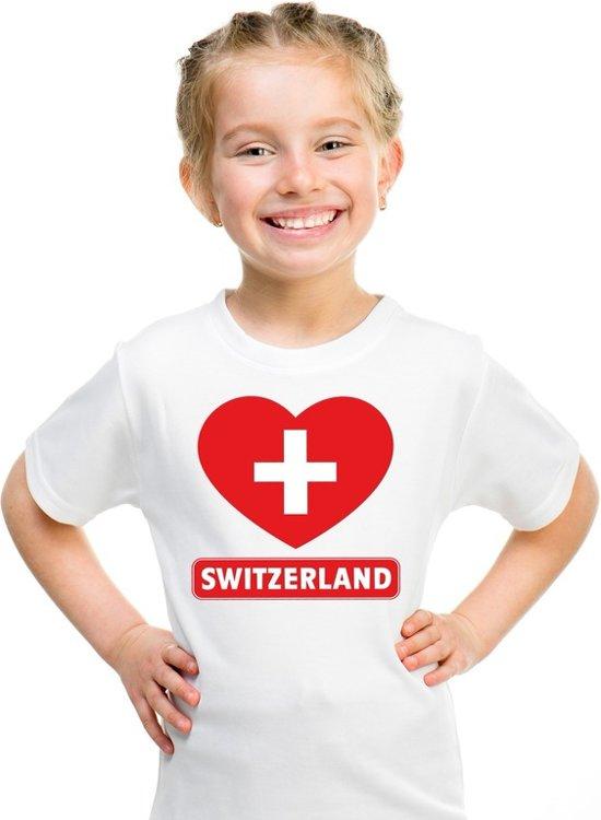 Zwitserland kinder t-shirt met Zwitserse vlag in hart wit jongens en meisjes S (122-128)