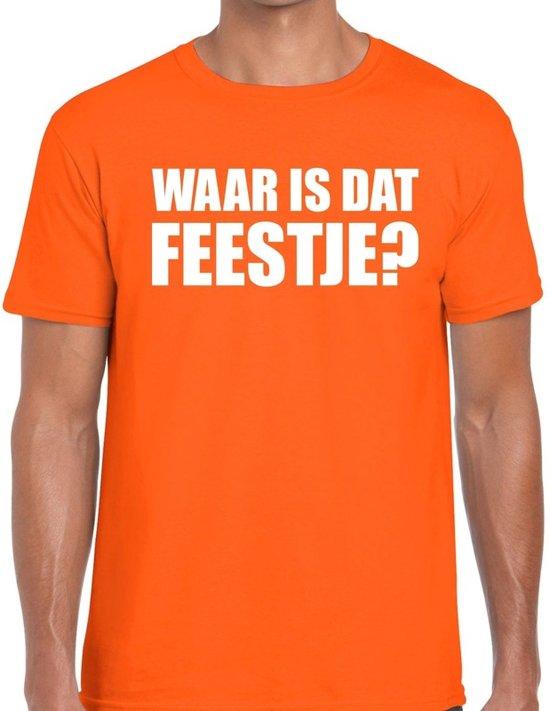 Waar is dat feestje heren shirt oranje - Heren feest t-shirts L