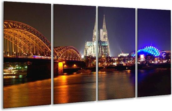 Glasschilderij Brug   Wit, Goud, Blauw   160x80cm 4Luik   Foto print op Glas    F001375