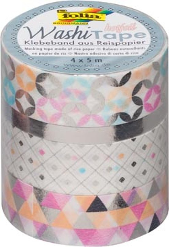 FOLIA WASHI TAPE ZILVER 4X