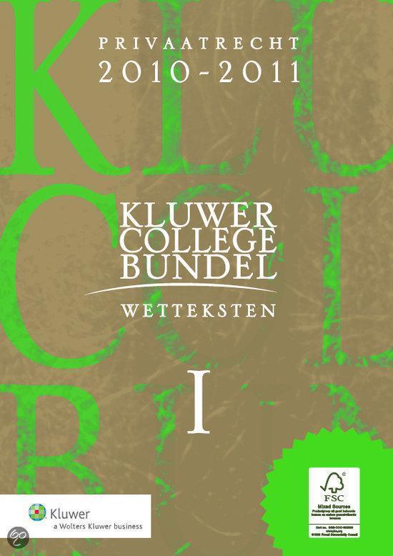 Boek cover Kluwer Collegebundel 2010/2011 van F.C.M.A. Michiels (Paperback)
