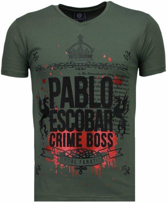 Local Fanatic Pablo Escobar Boss - Rhinestone T-shirt - Groen - Maten: S