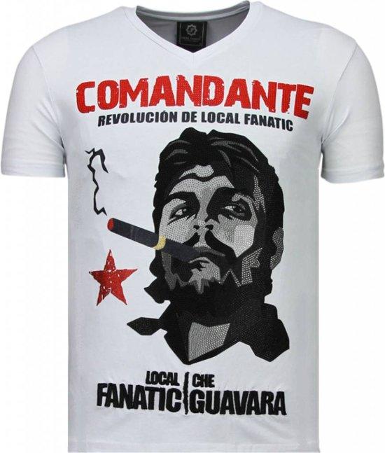 Local Fanatic Che Guevara Comandante - Rhinestone T-shirt - Wit - Maten: XXL