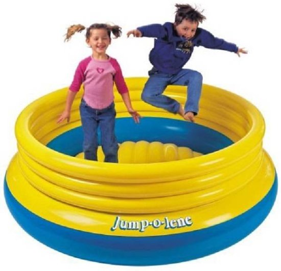 INTEX | Opblaasbaar Springkussen Jump-o-Lene voor Binnen & Buiten | Afmetingen: 203 x 203 x 69 cm | Springkussen | Opblaasbare Trampoline | Kleur: Geel met Blauwe rand
