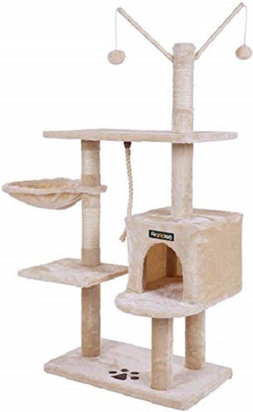 SONGMICS | 134 Cm Hoge Katten Kitten Krabpaal / Klimpaal met groot platform | Kattenhuis met paardestaart en decoratieve ballen | Afm. 134 x 60 x 36 Cm. | Kleur: BEIGE