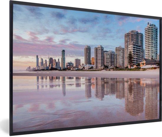 Foto in lijst - De stedelijke horizon van de Australische Gold Coast in Queensland fotolijst zwart 60x40 cm - Poster in lijst (Wanddecoratie woonkamer / slaapkamer)
