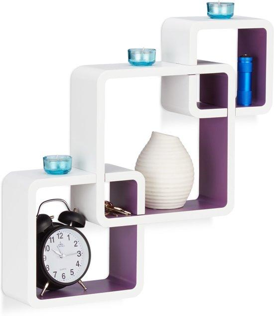 relaxdays wandplank vakken - 3-delige set - zwevend - kleurrijke wandboard - belastbaar Wit-Violet