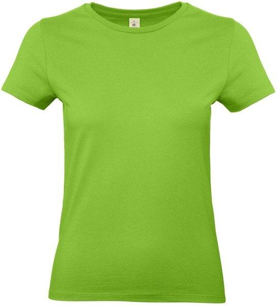 Basic dames t-shirt limegroen met ronde hals - Limegroene dameskleding casual shirts 2XL (44)