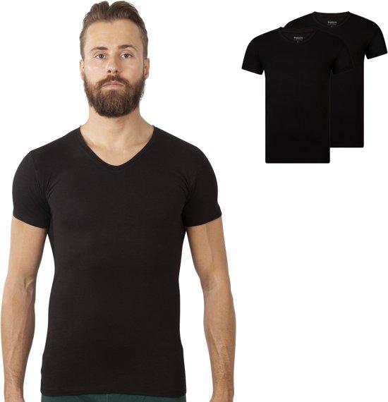V-Hals Bandoo Underwear heren Bamboe T-shirts Finn - 2-pack - Black - L