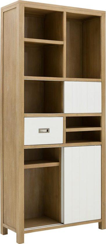 Goossens wink boekenkast grijs hout - Boekenkast hout en ijzer ...