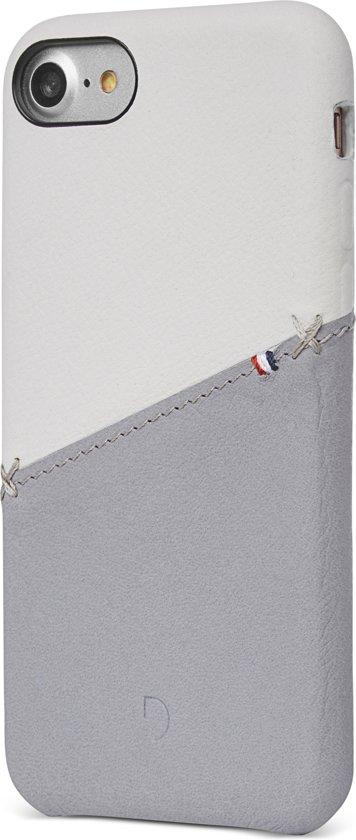 Decoded Snap on - Premium Leren Hoesje voor iPhone  8 / 7 / 6s / 6 - Wit / Grijs