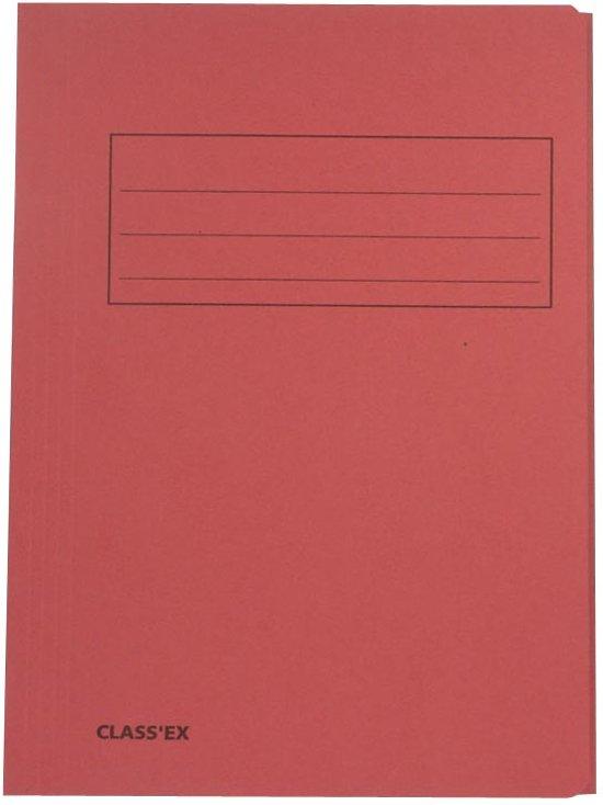 125x Class'ex dossiermap, 3 kleppen 23,7x34,7cm (voor folio), kers