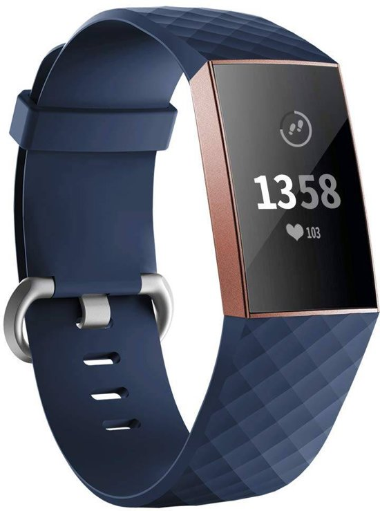 123Watches.nl Fitbit charge 3 sport wafel band - donkerblauw - ML