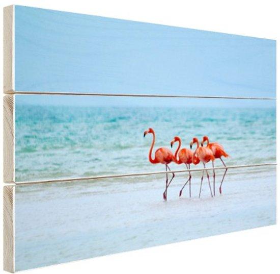 Roze flamingos in het water  Hout 120x80 cm - Foto print op Hout (Wanddecoratie)