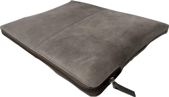 "Grijze leren Milatoni laptopsleeve - limited edition ""elephant grey"" - t/m 13 inch laptops - echt leder - vintage uitstraling - duurzame productie"