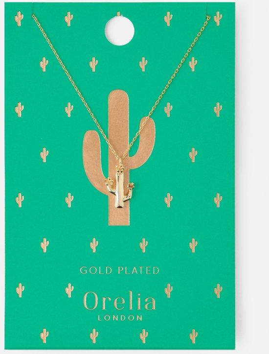 Orelia ketting kort - cactus - goudkleurig - 40,5 cm + 5,0 cm verlengstuk