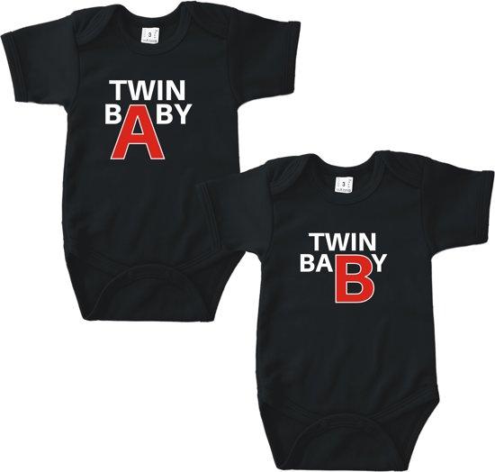 Twin A - Twin B (tweeling)   Baby rompertje   KM 50/56 zwart