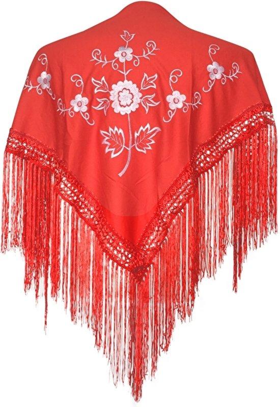 Spaanse manton - omslagdoek - voor kinderen - rood wit - bij Flamencojurk