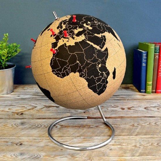 Wereldbol kurk met RVS-standaard - Groot - 25 cm