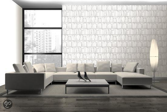 Boekenkast Behang Woonkamer : Bol dutch wallcoverings vliesbehang boekenkast wit