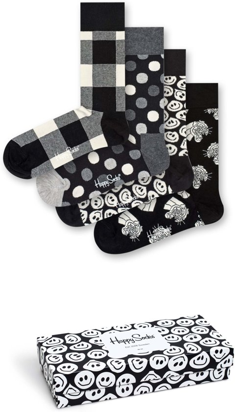 Happy Socks Black & White 4-Pack Giftbox, Maat 41/46