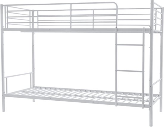 Stevige Metalen Stapelbed.Stapelbed Wit 90x200cm Jendo