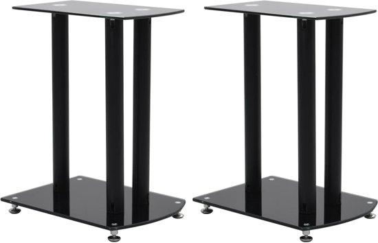 vidaXL Speaker standaard 2 st aluminium veiligheidsglas zwart
