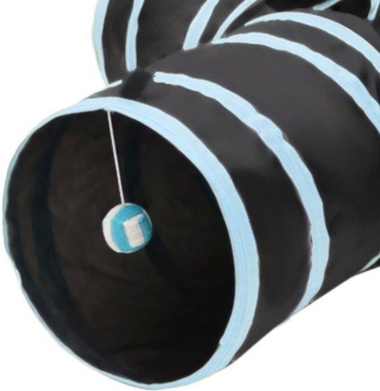 KELLYPET Kattentunnel – Hondentunnel – Konijnentunnel - Kattenspeeltje - Hondenspeeltje – 4 Ingangen – Eenvoudig Inklapbaar - Blauw
